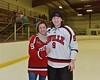 Baldwinsville Bees Jacob Norton (9) with his teacher, Mrs. Cartier, on Teacher Appreciation Night at the Lysander Ice Arena in Baldwinsville, New York on Monday February 8, 2016.