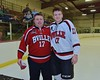 Baldwinsville Bees Ben Dwyer (17) with his teacher, Coach Spicer, on Teacher Appreciation Night at the Lysander Ice Arena in Baldwinsville, New York on Monday February 8, 2016.