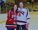 Baldwinsville Bees Noah Lindsay (21) with his teacher, Ms. Bibbens, on Teacher Appreciation Night at the Lysander Ice Arena in Baldwinsville, New York on Monday February 8, 2016.