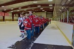 Baldwinsville Bees players honor their teachers on Teacher Appreciation Night at the Lysander Ice Arena in Baldwinsville, New York on Monday February 8, 2016.