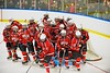 Baldwinsville Bees break their pre-game huddle before playing the West Genesee Wildcats at Shove Park in Camillus, New York on Friday, December 11, 2015.