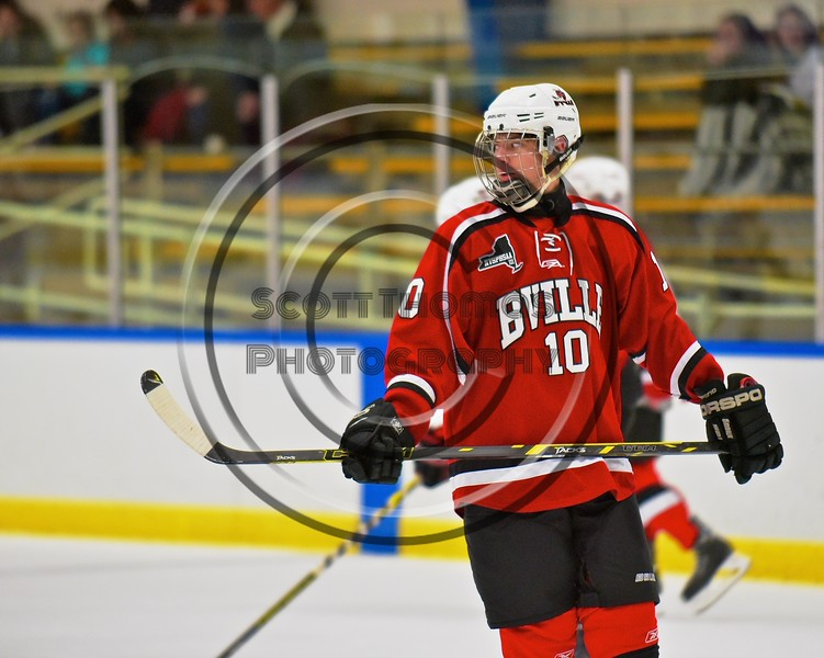 Baldwinsville Bees Dawson Giltz (10) before playing the West Genesee Wildcats at Shove Park in Camillus, New York on Friday, December 11, 2015.
