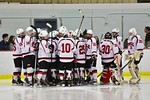 Baldwinsville Bees huddle up before the start of the third period against the Cicero/North Syracuse Northstars at the Lysander Ice Arena in Baldwinsville, New York on Monday February 8, 2016 ...