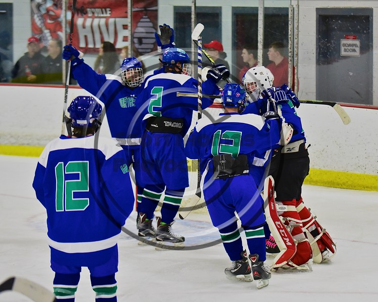 Cicero/North Syracuse Northstars players celebrate a win over the Baldwinsville Bees at the Lysander Ice Arena in Baldwinsville, New York on Monday February 8, 2016. Cicero/North Syracuse won 2-1.