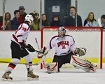 Baldwinsville Beesgoalie Matt Sabourin (31) sticks the puck aside against the Cicero/North Syracuse Northstars at the Lysander Ice Arena in Baldwinsville, New York on Monday February 8, 2016 ...