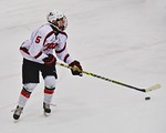 Baldwinsville Bees Isaiah Pompo (5) looking to make a play against the Cicero/North Syracuse Northstars at the Lysander Ice Arena in Baldwinsville, New York on Monday February 8, 2016. Cicer ...