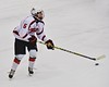 Baldwinsville Bees Isaiah Pompo (5) looking to make a play against the Cicero/North Syracuse Northstars at the Lysander Ice Arena in Baldwinsville, New York on Monday February 8, 2016. Cicero/North Syracuse won 2-1.