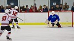 Baldwinsville Bees Garrett Gray (18) scores to tie the game against the Cicero/North Syracuse Northstars at the Lysander Ice Arena in Baldwinsville, New York on Monday February 8, 2016. Cice ...
