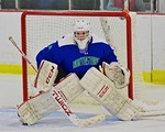 Cicero/North Syracuse Northstars goalie Jack Doren (30) in net against the Baldwinsville Bees at the Lysander Ice Arena in Baldwinsville, New York on Monday February 8, 2016. Cicero/North Sy ...