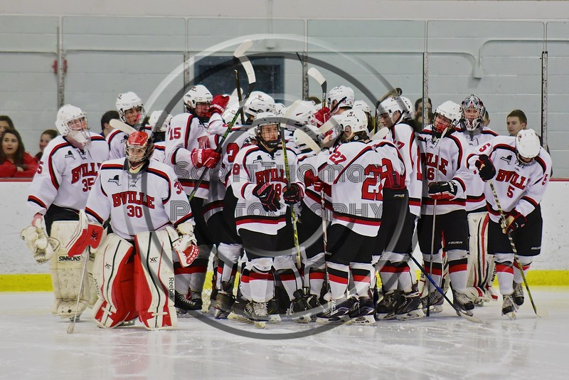 Baldwinsville Bees break the pre-game huddle before playing the Cicero/North Syracuse Northstars at the Lysander Ice Arena in Baldwinsville, New York on Monday February 8, 2016. Cicero/North Syracuse won 2-1.