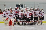 Baldwinsville Bees break the pre-game huddle before playing the Cicero/North Syracuse Northstars at the Lysander Ice Arena in Baldwinsville, New York on Monday February 8, 2016. Cicero/North ...