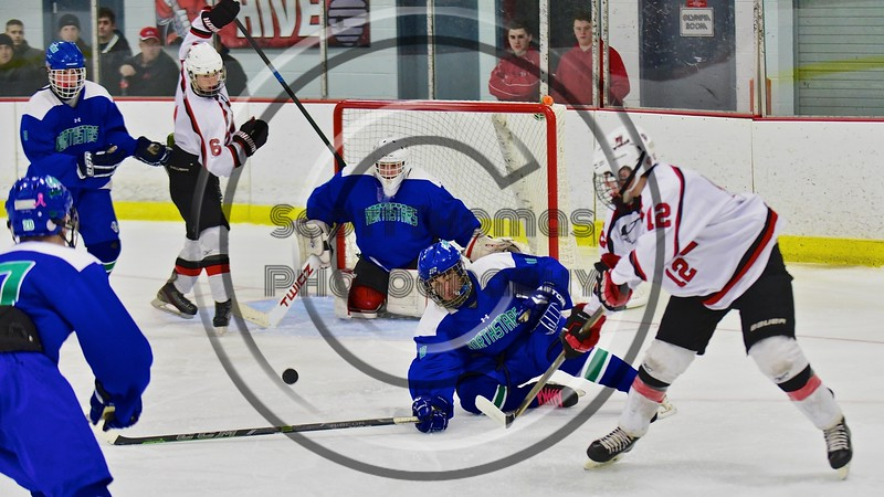 Baldwinsville Bees hosts the Cicero/North Syracuse Northstars at the Lysander Ice Arena in Baldwinsville, New York on Monday February 8, 2016. Cicero/North Syracuse won 2-1.