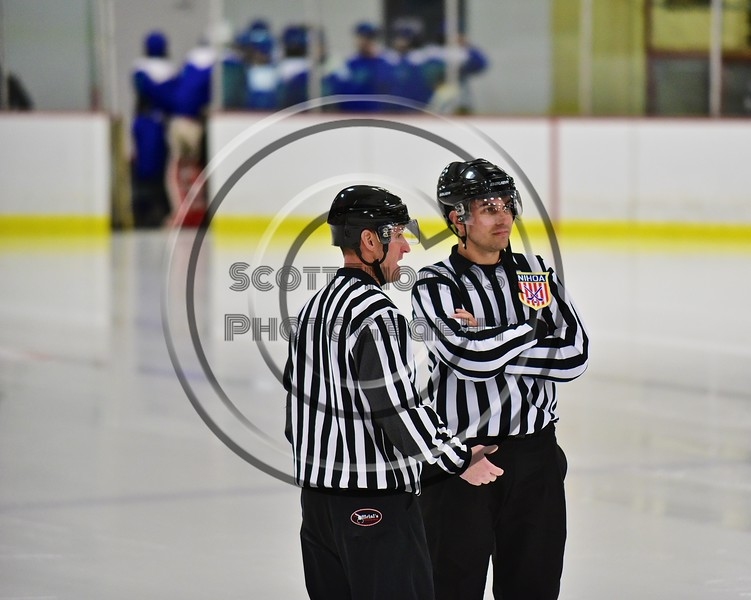 Referees on the ice before the Baldwinsville Bees and Cicero/North Syracuse Northstars hockey game at the Lysander Ice Arena in Baldwinsville, New York on Monday February 8, 2016. Cicero/North Syracuse won 2-1.