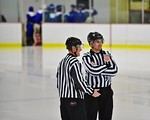 Referees on the ice before the Baldwinsville Bees and Cicero/North Syracuse Northstars hockey game at the Lysander Ice Arena in Baldwinsville, New York on Monday February 8, 2016. Cicero/Nor ...