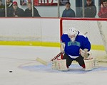 Cicero/North Syracuse Northstars goalie Jack Doren (30) kicks out the puck against the Baldwinsville Bees at the Lysander Ice Arena in Baldwinsville, New York on Monday February 8, 2016. Cic ...