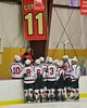 Baldwinsville Bees huddle up before the start of the second period against the Fayetteville-Manlius Hornets at the Lysander Ice Arena in a Section III Division I Boys Hockey Playoff game at Baldwinsville, New York on Thursday February 18, 2016.  Baldwinsville won 5-0.