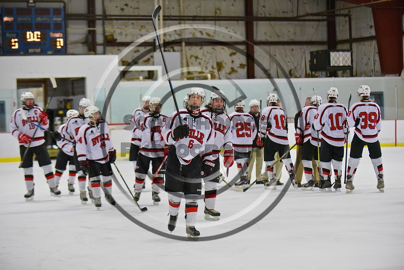Baldwinsville Bees Josh Racha (6) and his teammates celebrate a win over the Fayetteville-Manlius Hornets at the Lysander Ice Arena in a Section III Division I Boys Hockey Playoff game at Baldwinsville, New York on Thursday February 18, 2016.  Baldwinsville won 5-0.