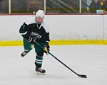 Fayetteville-Manlius Hornets Will Healy (3) looking to make a play against the Baldwinsville Bees at the Lysander Ice Arena in a Section III Division I Boys Hockey Playoff game at Baldwinsvi ...