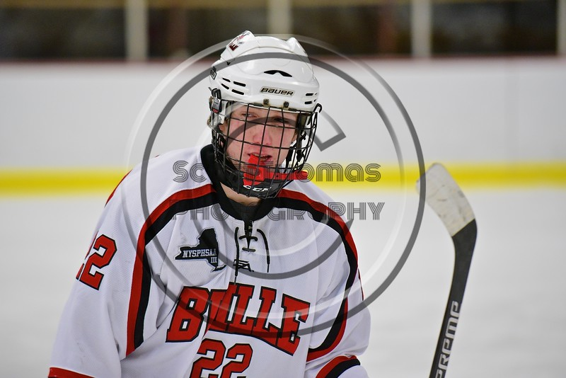 Baldwinsville Bees Matt Monaco (22) on the ice against the Fayetteville-Manlius Hornets at the Lysander Ice Arena in a Section III Division I Boys Hockey Playoff game at Baldwinsville, New York on Thursday February 18, 2016.  Baldwinsville won 5-0.