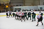 Baldwinsville Bees pull the goalie to line up for a scoring attempt against the Fayetteville-Manlius Hornets with a few seconds left in the first period at the Lysander Ice Arena in a Sectio ...