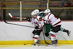 Baldwinsville Bees Josh Racha (6) and Andrew Starrantino (25) check the puck off a Fayetteville-Manlius Hornets player at the Lysander Ice Arena in a Section III Division I Boys Hockey Playo ...