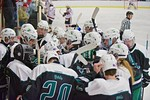 Fayetteville-Manlius Hornets huddle up before playing the Baldwinsville Bees at the Lysander Ice Arena in a Section III Division I Boys Hockey Playoff game at Baldwinsville, New York on Thur ...
