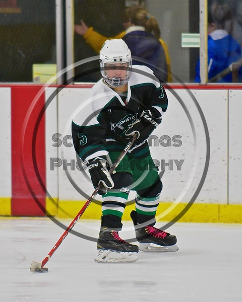 Fayetteville-Manlius Hornets Will Duncanson (5) with the puck against the Baldwinsville Bees at the Lysander Ice Arena in a Section III Division I Boys Hockey Playoff game at Baldwinsville, New York on Thursday February 18, 2016.  Baldwinsville won 5-0.