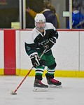 Fayetteville-Manlius Hornets Will Duncanson (5) with the puck against the Baldwinsville Bees at the Lysander Ice Arena in a Section III Division I Boys Hockey Playoff game at Baldwinsville,  ...