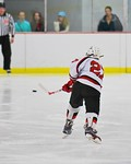 Baldwinsville Bees Matt Metcalf (27) fires the puck at the Fayetteville-Manlius Hornets net at the Lysander Ice Arena in a Section III Division I Boys Hockey Playoff game at Baldwinsville, N ...