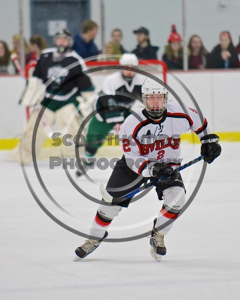 Baldwinsville Bees Tanner McCaffrey (2) on the ice against the Fayetteville-Manlius Hornets at the Lysander Ice Arena in a Section III Division I Boys Hockey Playoff game at Baldwinsville, New York on Thursday February 18, 2016.  Baldwinsville won 5-0.