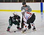 Baldwinsville Bees Isaiah Pompo (5) facing off with a Fayetteville-Manlius Hornets player to start the second period at the Lysander Ice Arena in a Section III Division I Boys Hockey Playoff ...