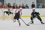 Baldwinsville Bees Josh Racha (6) gets ready to shoot the puck at the Fayetteville-Manlius Hornets net at the Lysander Ice Arena in a Section III Division I Boys Hockey Playoff game at Baldw ...
