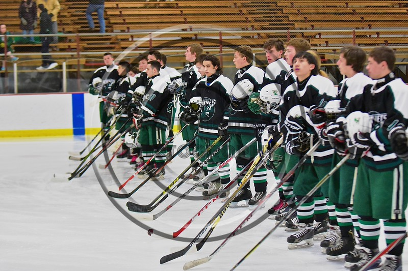 Baldwinsville Bees hosted the Fayetteville-Manlius Hornets at the Lysander Ice Arena in a Section III Division I Boys Hockey Playoff game at Baldwinsville, New York on Thursday February 18, 2016.  Baldwinsville won 5-0.