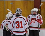 Baldwinsville Bees Senior Captain Charlie Bertrand (15) greets teammates after defeating the Fayetteville-Manlius Hornets at the Lysander Ice Arena in a Section III Division I Boys Hockey Pl ...