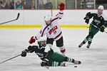 Baldwinsville Bees David Eckmann (19) takes down a Fayetteville-Manlius Hornets player at the Lysander Ice Arena in a Section III Division I Boys Hockey Playoff game at Baldwinsville, New Yo ...