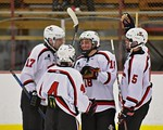 Baldwinsville Bees congratulate Garrett Gray (18) on his goal against the Fayetteville-Manlius Hornets at the Lysander Ice Arena in a Section III Division I Boys Hockey Playoff game at Baldw ...