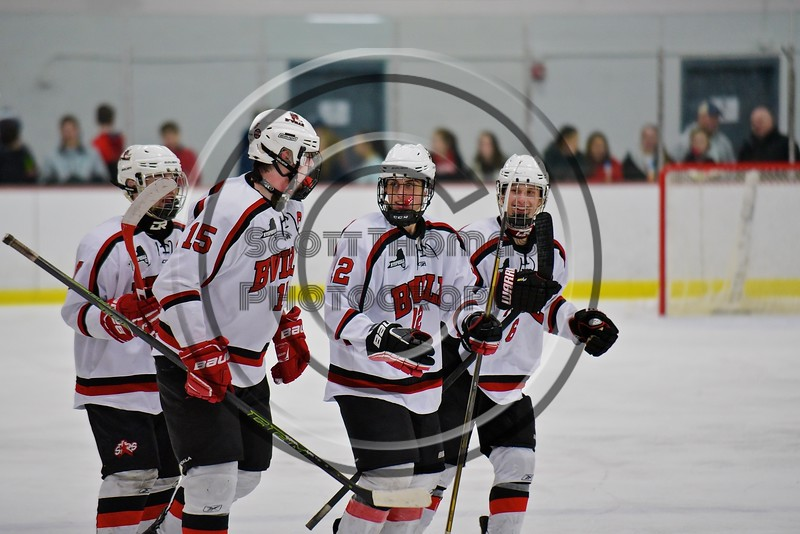 Baldwinsville Bees players before a face-off against the Fayetteville-Manlius Hornets at the Lysander Ice Arena in a Section III Division I Boys Hockey Playoff game at Baldwinsville, New York on Thursday February 18, 2016.  Baldwinsville won 5-0.