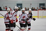 Baldwinsville Bees players before a face-off against the Fayetteville-Manlius Hornets at the Lysander Ice Arena in a Section III Division I Boys Hockey Playoff game at Baldwinsville, New Yor ...