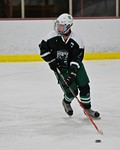 Fayetteville-Manlius Hornets Trevor Pokine (21) with the puck against the Baldwinsville Bees at the Lysander Ice Arena in a Section III Division I Boys Hockey Playoff game at Baldwinsville,  ...