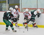Baldwinsville Bees Noah Lindsay (21) battles for a loose puck against Fayetteville-Manlius Hornets Tommy Guilfoil (24) at the Lysander Ice Arena in a Section III Division I Boys Hockey Playo ...