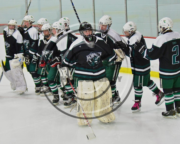 Fayetteville-Manlius Hornets goalie James Kaffenberger (30) being introduced before playing the Baldwinsville Bees at the Lysander Ice Arena in a Section III Division I Boys Hockey Playoff game at Baldwinsville, New York on Thursday February 18, 2016.