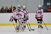 Baldwinsville Bees goalie Matt Sabourin (31) being introduced before playing the Liverpool Warriors at the Lysander Ice Arena in Baldwinsville, New York on Friday January 22, 2016.