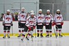 Baldwinsville Bees Charlie Bertrand (15) being introduced before playing the Liverpool Warriors at the Lysander Ice Arena in Baldwinsville, New York on Friday January 22, 2016.