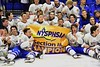 West Genesee Wildcats celebrate the Section III, Division I Championship in Boys Ice Hockey at the Utica Auditorium on Sunday, February 28, 2016. West Genesee won 1-0.