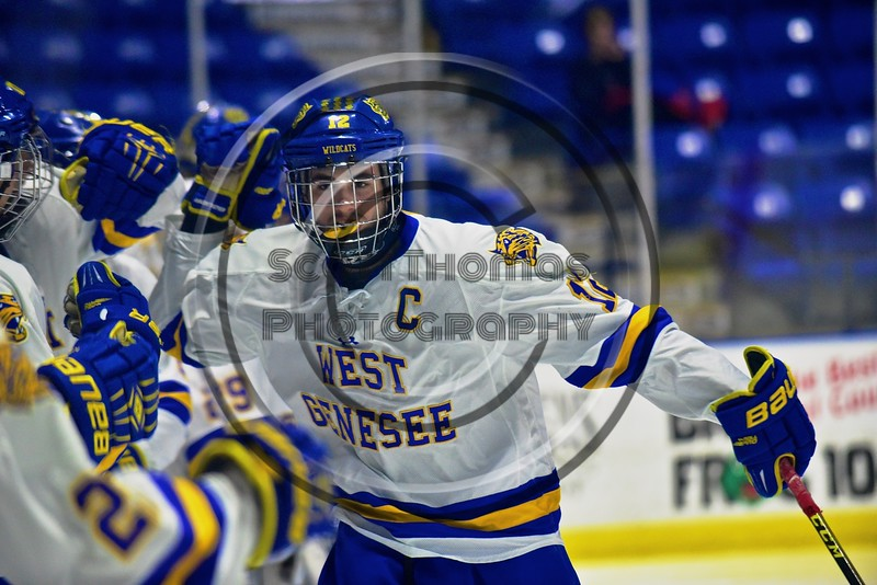 West Genesee Wildcats Matthew McDonald (12) being introduced before playing the Baldwinsville Bees in the Section III, Division I Championship game in Boys Ice Hockey at the Utica Auditorium on Sunday, February 28, 2016.