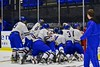 West Genesee Wildcats celebrate after defeating the Baldwinsville Bees in the Section III, Division I Championship game in Boys Ice Hockey at the Utica Auditorium on Sunday, February 28, 2016. West Genesee won 1-0.