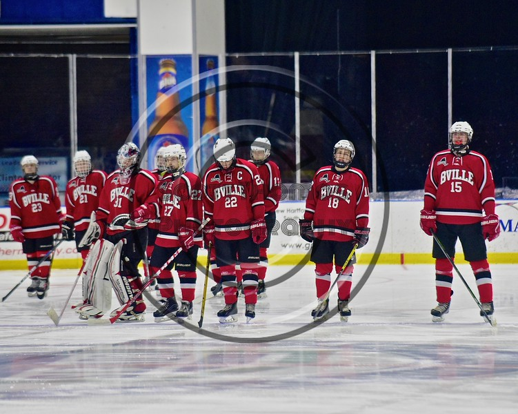 Baldwinsville Bees goalie Matt Sabourin (31) being introduced before playing the West Genesee Wildcats in the Section III, Division I Championship game in Boys Ice Hockey at the Utica Auditorium on Sunday, February 28, 2016.