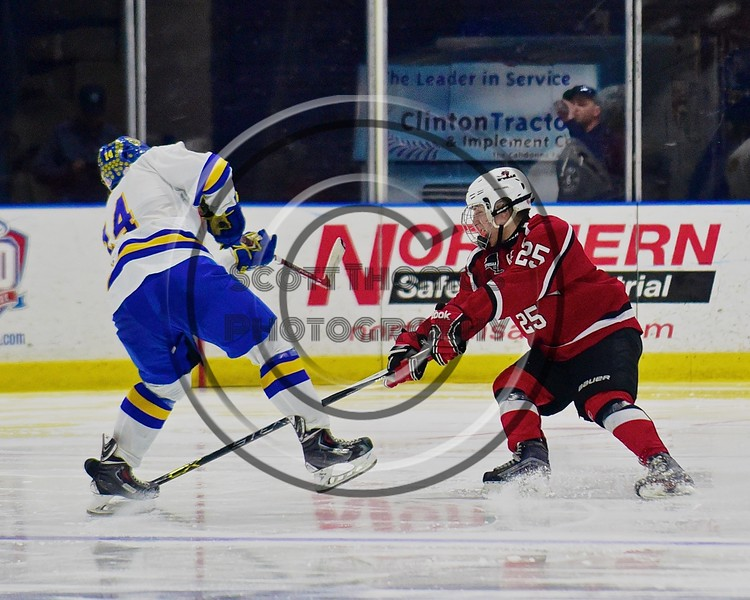 Baldwinsville Bees Andrew Starrantino (25) defends against West Genesee Wildcats Garrett Schnorr (14) in the Section III, Division I Championship game in Boys Ice Hockey at the Utica Auditorium on Sunday, February 28, 2016. West Genesee won 1-0.