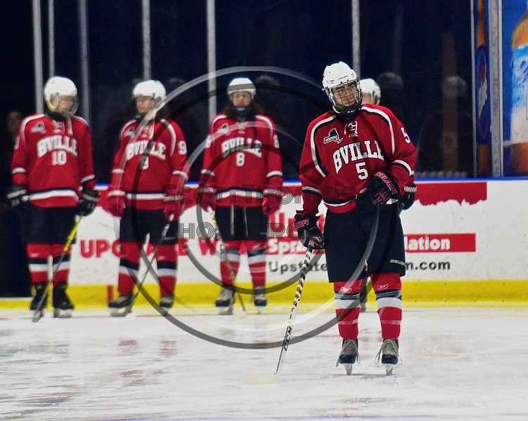 Baldwinsville Bees Isaiah Pompo (5) being introduced before playing the West Genesee Wildcats in the Section III, Division I Championship game in Boys Ice Hockey at the Utica Auditorium on Sunday, February 28, 2016.