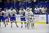 West Genesee Wildcats goalie Sammy Colabufo (29) and his teammates skate back for a face-off against the Baldwinsville Bees in the Section III, Division I Championship game against the Baldwinsville Bees in Boys Ice Hockey at the Utica Auditorium on Sunday, February 28, 2016. West Genesee won 1-0.